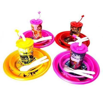 Набор пластиковой посуды и приборов для ребенка {7 предметов} (Тачки), фото 2