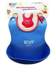 Нагрудник мягкий для кормления с кармашком и застежкой Roxy Kids RB-401 (Салатовый), фото 2
