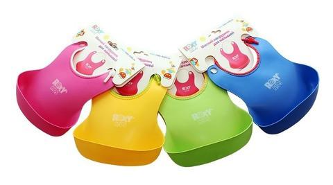Нагрудник мягкий для кормления с кармашком и застежкой Roxy Kids RB-401 (Розовый)