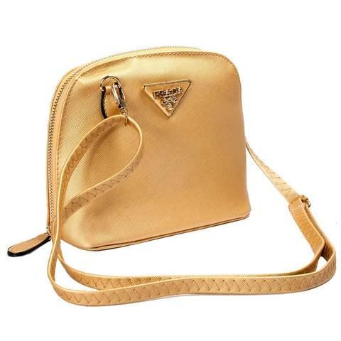 Сумочка женская на плечо с логотипом PRADA Milano (Золотой)