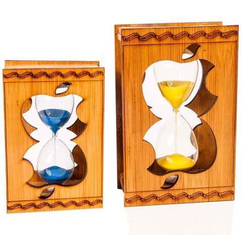 Часы песочные сувенирные в деревянной оправе [1/2,5 минуты] (Маленькие)