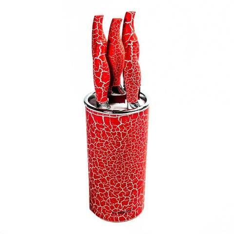 Набор металлокерамических ножей на подставке EVERRICH ER-0142 / ER-0119 (Красный)