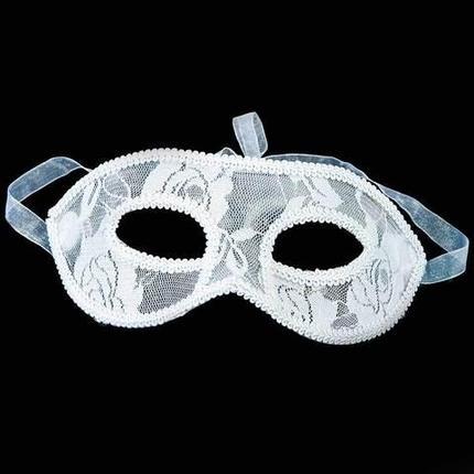 Ажурная карнавальная маска «Мистеро» (Белый), фото 2