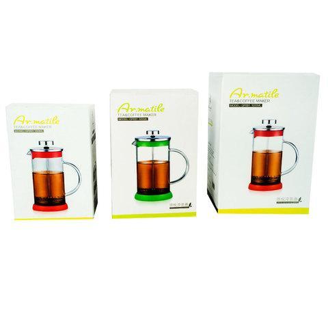 Заварник френч-пресс Ar.matile [350-1000мл] для чая и кофе (Красный / 800 мл)