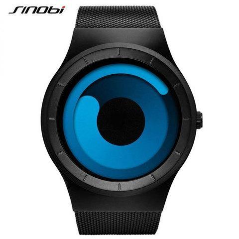 Часы наручные спортивные SINOBI футуристического дизайна (Черный ремешок/Синий циферблат)
