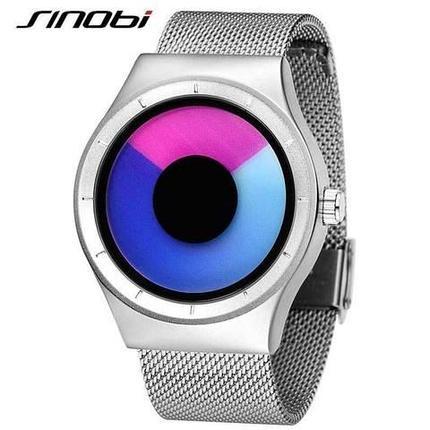 Часы наручные спортивные SINOBI футуристического дизайна (Черный ремешок/Синий циферблат), фото 2
