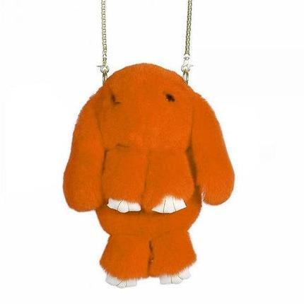 Сумка-рюкзак из натурального меха «Зайка» с ресничками (Оранжевый), фото 2