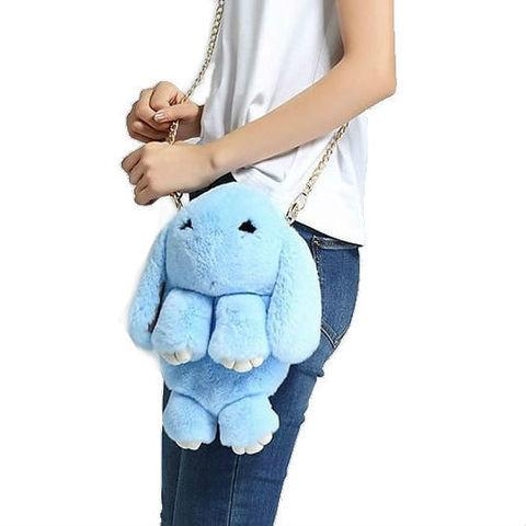 Сумка-рюкзак из натурального меха «Зайка» с ресничками (Лагуна)