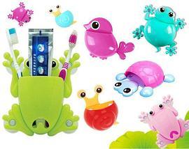 Держатель для зубных щёток и пасты «Весёлые зверушки» (Голубой / Лягушка), фото 2