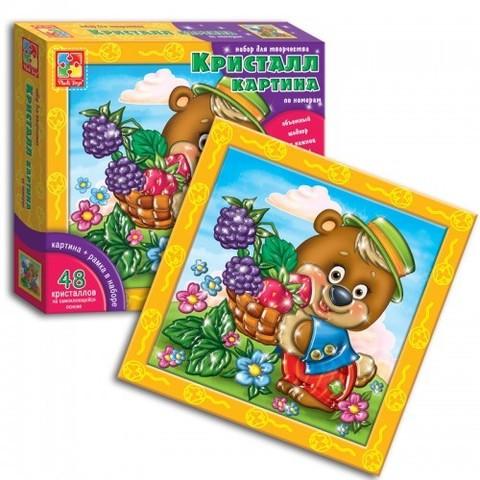 Набор для творчества «Кристалл картина» по номерам Vladi Toys (Мишка с лукошком)