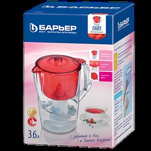 Фильтр-кувшин для воды «Барьер» Лайт + 1 картридж 3,6 л (Красный)