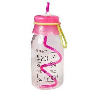 Бутылочка детская с трубочкой [420 мл] (Розовый)