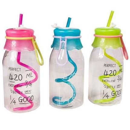 Бутылочка детская с трубочкой [420 мл] (Розовый), фото 2