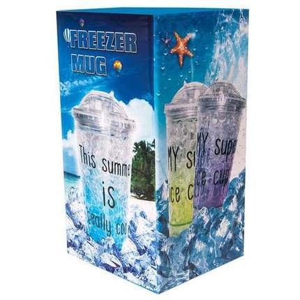 Термокружка гелевая для охлаждённых напитков с крышкой и выдвижной трубочкой FREEZER MUG (Голубой), фото 2
