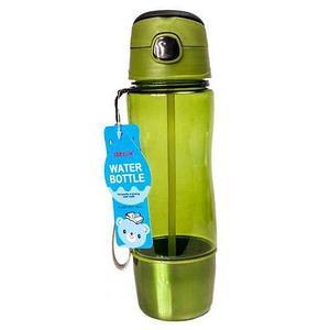 Бутылка для воды с трубочкой и съёмным стаканчиком WATER BOTTLE (Зеленый)