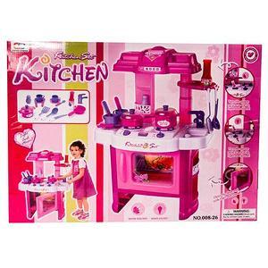 Игровая кухня детская с набором посуды и продуктами KITCHEN SET (Красно-серый)