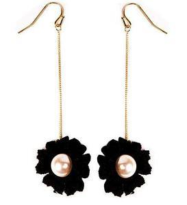 Серьги-цепочки с подвеской «Flowers» (Черный)