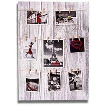 Фотоколлаж с прищепками «Семейная реликвия» [5, 7, 8 фото] (30x60 см / Белое дерево), фото 3