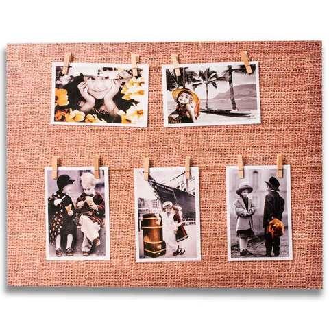 Фотоколлаж с прищепками «Семейная реликвия» [5, 7, 8 фото] (40x50 см / Мешковина)