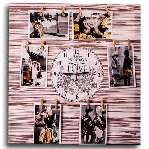 Фотоколлаж с часами «Счастливые каникулы» [6, 7 фото] (50x50 см / Белое дерево)