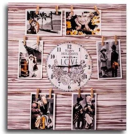 Фотоколлаж с часами «Счастливые каникулы» [6, 7 фото] (50x50 см / Белое дерево), фото 2
