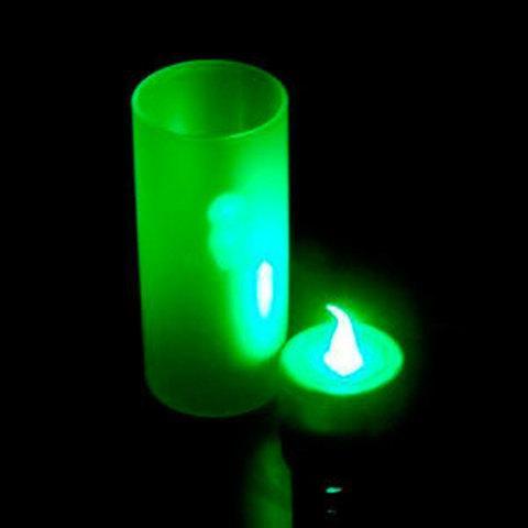 Светодиодная свеча LED Candle [2шт.] (Зелёная со стаканом)