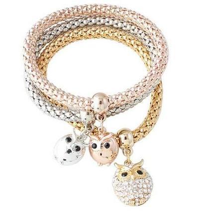Комплект из трёх изящных браслетов с подвесками (Совы), фото 2
