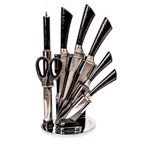 Набор ножей из нержавеющей стали на подставке KITCHEN KING [8 предметов] (Черный)