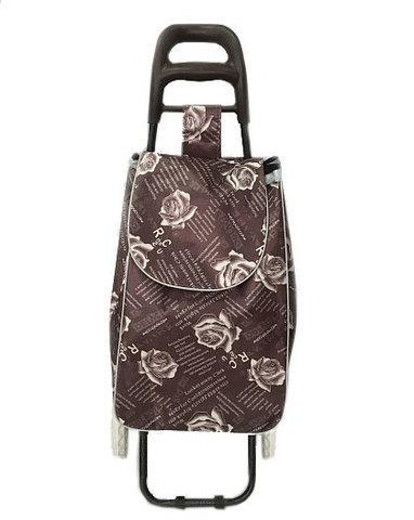 Сумка-тележка хозяйственная 8569 Delux с цветочным принтом (Коричневый)