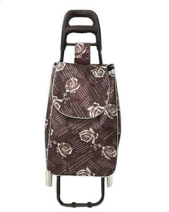 Сумка-тележка хозяйственная 8569 Delux с цветочным принтом (Коричневый), фото 2