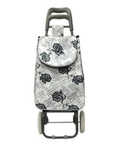 Сумка-тележка хозяйственная 8569 Delux с цветочным принтом (Белый)