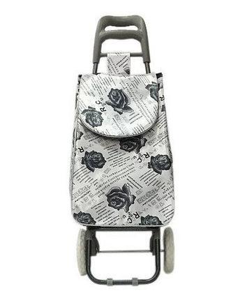 Сумка-тележка хозяйственная 8569 Delux с цветочным принтом (Белый), фото 2
