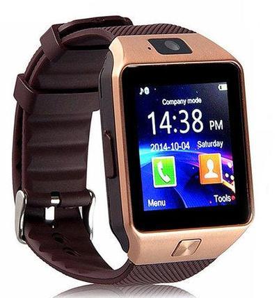 Умные часы [Smart Watch] с SIM-картой и камерой DZ09 (Золотистый с коричневым), фото 2