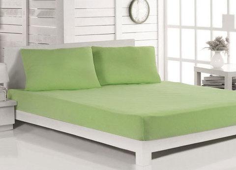 Простынь на резинке из поплина от Текс-Дизайн (180х200 см / Зеленый), фото 2
