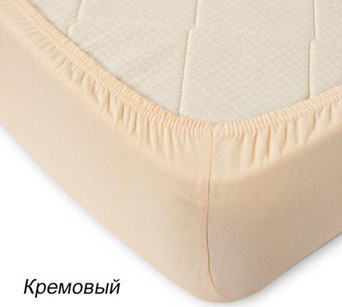 Простынь на резинке из трикотажной ткани от Текс-Дизайн (90х200 см / Кремовый)