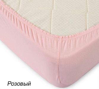 Простынь на резинке из трикотажной ткани от Текс-Дизайн (200х200 см / Розовый)