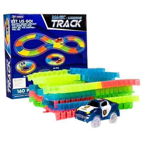 Конструктор с гнущейся трассой и светящейся машинкой Magic Track [160, 220, 360 деталей] (360 деталей)