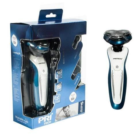 Электробритва с триммером для усов/бороды/носа PRITECH RSM-1418 (Голубой)