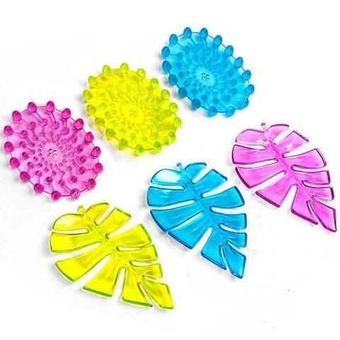 Мыльница силиконовая в форме листика и паутинки Soap Dish (Синий / Листок)