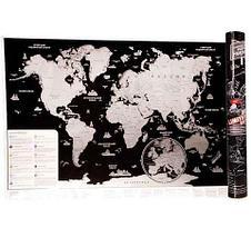 Скретч карта мира стираемая [58х82 см] (Черный), фото 2