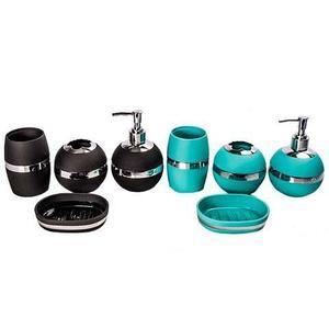 Набор аксессуаров для ванной комнаты 4 в 1 «Блеск и роскошь» (Бирюзовый)