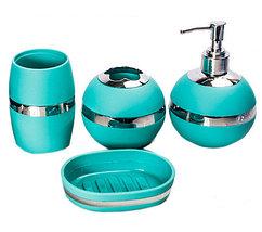 Набор аксессуаров для ванной комнаты 4 в 1 «Блеск и роскошь» (Бирюзовый), фото 2