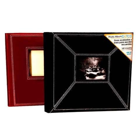 Фотоальбом в переплёте из экокожи с белой строчкой [160 фото; 10х15] (Черный)