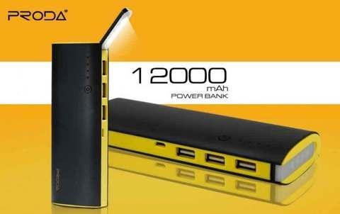 Аккумулятор портативный PRODA STAR TALK со встроенной лампой-фонариком [3 USB выхода; 12000mAh] (Черный)