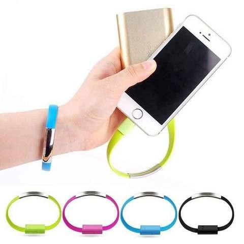 Кабель-браслет USB — microUSB / Apple Lightning для Samsung / iPhone / iPad (Голубой / USB-Lightning)