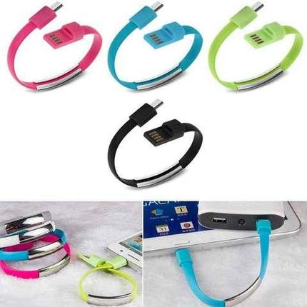 Кабель-браслет USB — microUSB / Apple Lightning для Samsung / iPhone / iPad (Голубой / USB-Lightning), фото 2