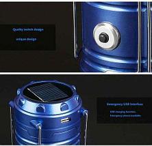 Фонарь-лампа для кемпинга на солнечной батарее с USB - разъёмом (SH-5811F (с вентилятором)), фото 3