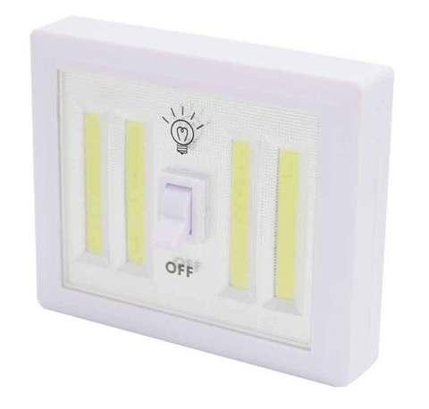 Светильник светодиодный на батарейках в виде выключателя освещения (с четырьмя светодиодными лентами)
