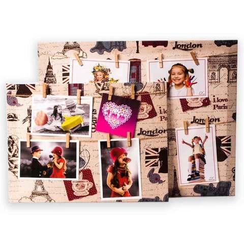 Фото коллаж с прищепками «Лондон - Париж» [4, 5 фото] (40x50 см)