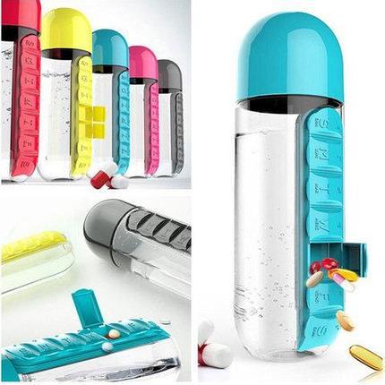 Бутылка с органайзером для таблеток (Голубой), фото 2